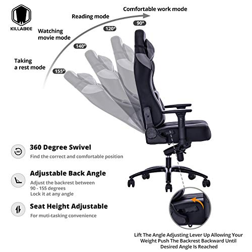 VON RACER Big and Tall 400lb Memory Foam Gaming Chair-Adjustable Tilt, Angle and 3D Arms Ergonomic High-Back Leather Racing Executive Computer Desk Office Metal Base (Gray)
