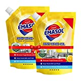 EMAMI EMASOL Dish Wash Gel with Lemon & Tamarind, Removes Grease, Lemon Fragrance, Refill Pack, 900 ml (Pack of 2)