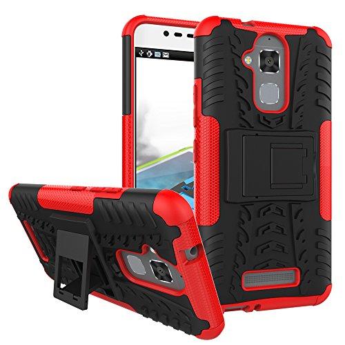 TiHen Handyhülle für Asus Zenfone 3 Max ZC520TL Hülle, 360 Grad Ganzkörper Schutzhülle + Panzerglas Schutzfolie 2 Stück Stoßfest zhülle Handys Tasche Bumper Hülle Cover Skin mit Ständer -rot