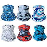 Neck Gaiter Mask Breathable Face Cover Cooling Sun Proof Face Mask Bandana Cloth Washable Face Scarf 6 PCS