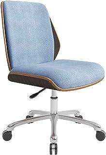 LXDDP Silla para computadora Oficina con Ruedas, sillas Escritorio para Sala Estar, Respaldo Madera Maciza Natural, Lino Transpirable, Ajuste Altura, certificación SGS (Azul)