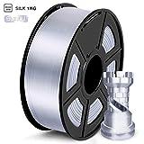 SUNLU Filamento PLA 1.75mm Silk Plata, lmpresora 3D Filamento PLA 1KG Carrete, PLA Silk Silver Filamento
