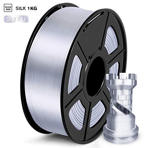 SUNLU PLA Filament 1.75mm, Silk Silver 3D Printer Filament, 1KG 2.2 LBS Spool, Shiny Metallic PLA Silk Filament