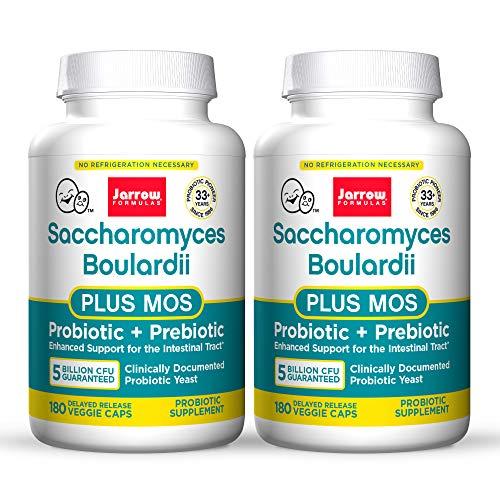 Jarrow Formulas Saccharomyces Boulardii + MOS - 5 Billion Organisms/Serving - 90 Delayed Release Veggie Caps, Pack of 3 - Probiotic + Prebiotic - Intestinal Tract Support - Up to 270 Total Servings