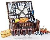 Picnic Basket for 4 | Handmade Picnic Hamper Set | Ceramic Plates...