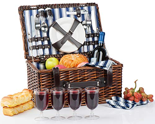 Picnic Basket for 4 | Handmade Picnic Hamper Set | Ceramic Plates Complete Kit Includes Metal Flatware Wine Glasses S/P Shakers and Bottle Opener | Blue Stripe Pattern Lining | Picnic Tote Wine Gifts