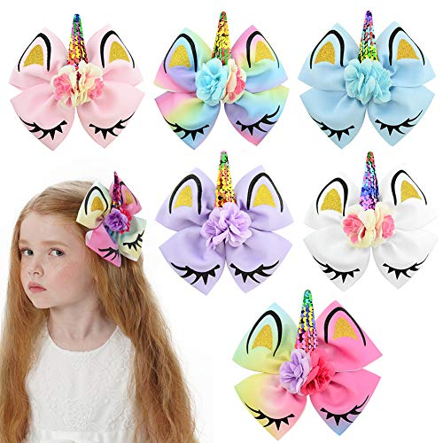 Girls Unicorn Hair Bows with Alligator Hair Clips Cheer Bows Hair Accessories for Kids Toddlers 6 Packs