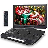 FANGOR - Reproductor de DVD Blu-Ray portátil de 12 pulgadas, compatible con Full HD 1080P, Dolby Audio, batería recargable integrada, soporta HDMI, AV in, USB/SD/MMC, 4 horas de autonomía