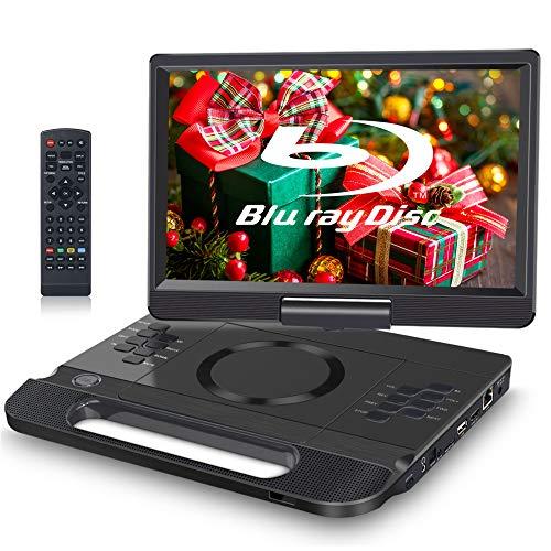 FANGOR Tragbarer DVD-Player, Blu-Ray-Player, 12 Zoll, unterstützt Full HD 1080P, Dolby Audio, integrierter wiederaufladbarer Akku, unterstützt HDMI, AV in, USB/SD/MMC, 4 Stunden Laufzeit