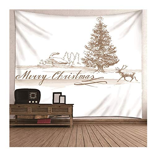 Aokarry Wall Hanging Tapestry, Christmas Theme Elk Christmas Tree Tapestry for Living Room Bedroom Decor 80X80 in White