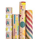 RUSPEPA Geschenkpapier Kraftpapier - Buntes Geschenkpapier Zum Geburtstag - 4 Rollen - 76 X 305 cm Pro Rolle