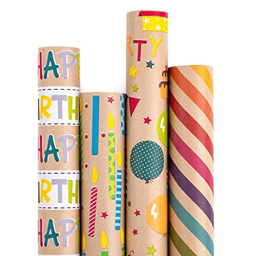 RUSPEPA Wrapping Paper Kraft Paper - Colorful Birthday Wrap Design - 4 Rolls - 30 inches x 10 feet per Roll