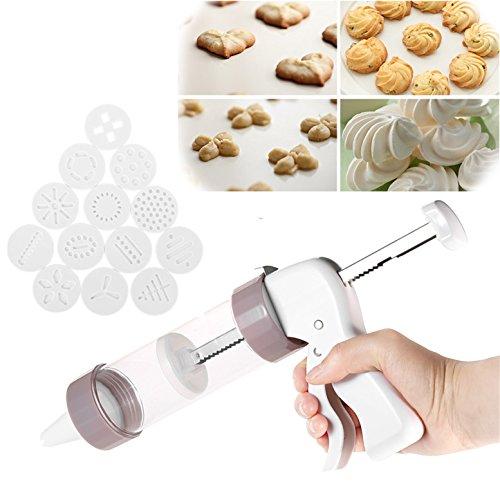 LAEMALLS Gebäckpresse Gebäckspritze, Kuchen-Zuckerglasur-Set, Cremespritze Biscuits Plätzchenpresse-Set mit 13 Unterschiedlicher Stil Form Schimmel und 6 Tüllen, for Kräcker, Kuchen und Kekse#1