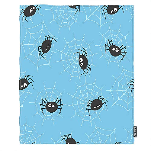 AOYEGO Spider Blankets Halloween Cute Funny Cartoon Spiders in Spiderweb Throw Blanket 50x60 Inch Soft Flannel Plush Blanket for Couch Bed Boys Girls Blue Black