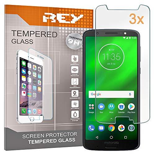 REY Pack 3X Panzerglas Schutzfolie für Motorola Moto G6, Displayschutzfolie 9H+ Härte, Anti-Kratzen, Anti-Öl, Anti-Bläschen