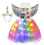 Viyorshop Girl Unicorn Costume Unicorn Tutu Dress Rainbow LED Light Up Birthday Party Outfit for Halloween Party Costumes (Rainbow Sequins, 5-6 Years)