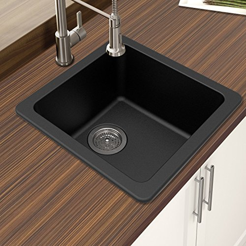 "Winpro New Black Granite Quartz 16 5/8"" x 16 5/8""x 8"" Single Bowl Dual Mount Bar Sink"