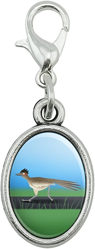 GRAPHICS & MORE Roadrunner Runs Fast Antiqued Bracelet Pendant Zipper Pull Oval Charm with Lobster Clasp