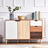 Huisen Furniture Multi Wood Storage Cabinet with <span class='highlight'>Drawer</span>s Large Kitchen Cupboard Long Sideboard Living Room Entryway Door Bedroom <span class='highlight'>Chest</span> of <span class='highlight'>Drawer</span>s with 2 Door 3 <span class='highlight'>Drawer</span>s 120CM/4FT