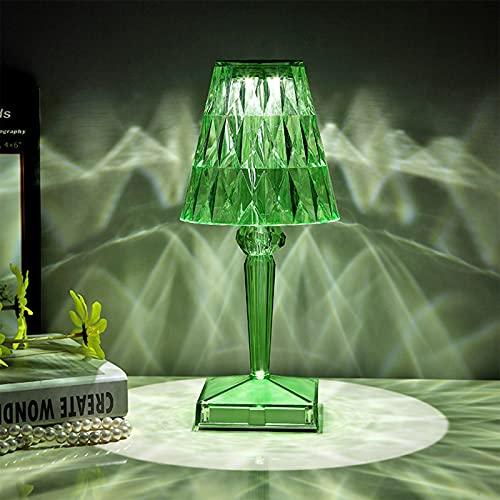 Lámpara de mesa LED de diamante, luz de noche de acrílico con luz de noche con luz USB táctil, para decoración de escritorio,luz verde claro, luz tricolor