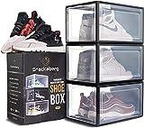 LSZ Scaffali portascarpe Scatola da Scarpe da Goccia Anteriore Scarpa impilabile Scatola Scarpe in plastica con Apertura Anteriore Magnetica, stenditura Sneaker Scaffali portascarpe (Color : Black)