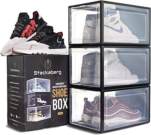 LSZ Organizador de Zapatos Caja de Plataforma de plástico de la Caja Delantera Delantera apilable con Apertura Delantero magnético, Deporte de Deporte Organizador de Zapatos (Color : Black)