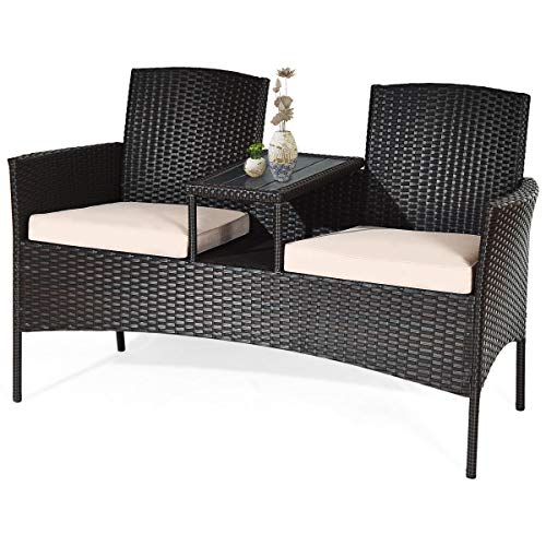 COSTWAY 2-Seater Rattan Chair with Coffee Table and Removable Cushion, Outdoor Garden Patio Wicker Loveseat Conversation Furniture Set Partner Bench (Khaki)
