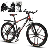 Fiunkes Fahrrad Mountainbike 26 Zoll 27-Gang-Doppelscheibenbremse Federgabel Anti-Rutsch, Off-Road Variable Speed Racing Bikes für Männer und Frauen,Black red
