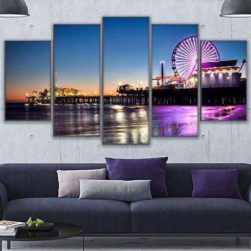 Prodizainas Cuadros de Arte de Pared de Lona decoración del hogar Sala de Estar 5 Piezas de Pintura de Muelle de Playa de Los Ángeles Impresiones Cartel de Noria
