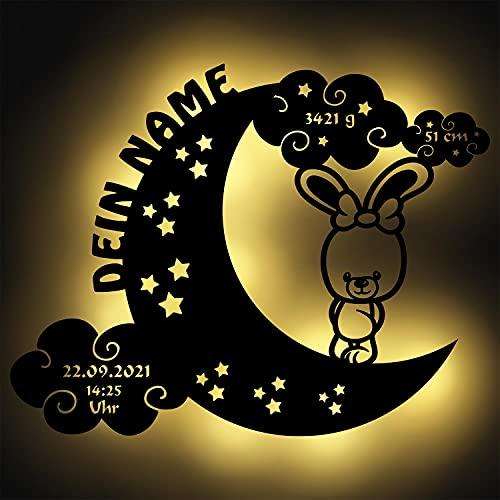 Schlummerlicht Mond-Hase I Personalisiertes Baby-Geschenk zur Geburt & Taufe LED Beleuchtung | Holz Natur I Batteriebetriebene Wand-Lampe Nachtlicht mit Geburtsdaten für Mädchen & Junge