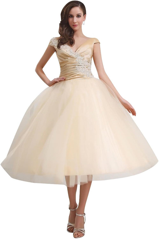 Vampal gold V Neck Tulle Tea Length Ball Gown Wedding Dress Cap Sleeves