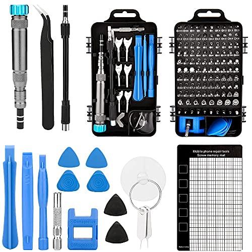 iSintek Juego de destornilladores, 135 en 1, juego de herramientas de reparación de mecánicos de precisión, juego de destornilladores de precisión para teléfonos inteligentes y portátiles