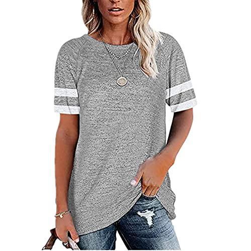 Camiseta de manga larga para mujer, cuello redondo, color bloque Gris claro2. L
