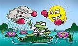 Fahne - Flagge - Wetterfrosch - Frosch - (Garten, Blumen,Sonne,Wolken,Boxer) - 90x150 cm - Hissfahne mit Ösen -