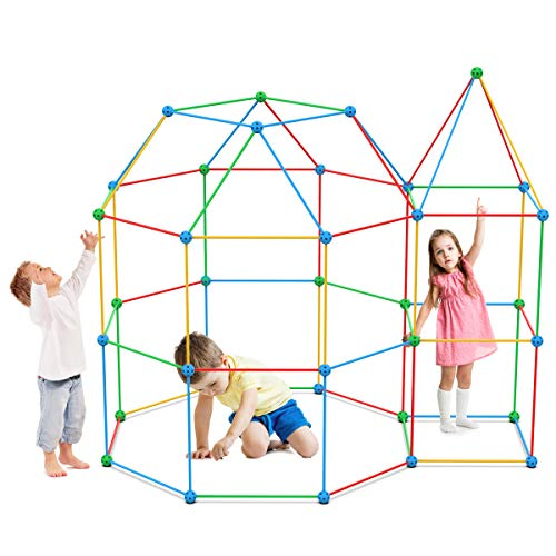 TECBOSS 110 Pcs Fort Building Kit, Construction Fort Toys for Kids Builder Gifts with a Blanket to DIY Building Castles Tunnels Play Tent Rocket Tower Indoor & Outdoor