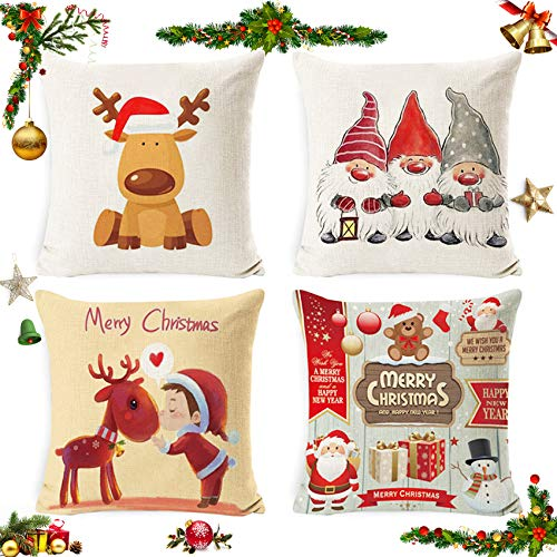 Sunshine smile 4 pcs Fundas navideñas para Cojines,Funda de Almohada decoración para hogar,Funda de Almohada de Navidad,Fundas para Cojines de Sofa,Funda de Almohada Decorativa (10)