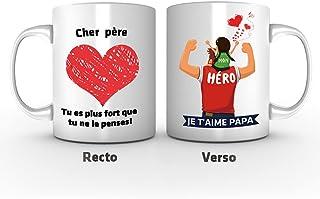 Papa Mug - « Mon héro, cœur » - idée Cadeau Fête des Pères/Anniversaire Originale/Tasse Originale/Cadeau Anniversaire/ Cér...