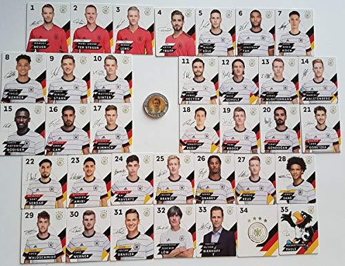 Rewe Komplettsatz EM 2020 DFB - Sammelkarten - KOMPLETT alle 35 Verschiedene Normale Karten + 1 Fußballmünze der WM 2006 - Miroslav Klose