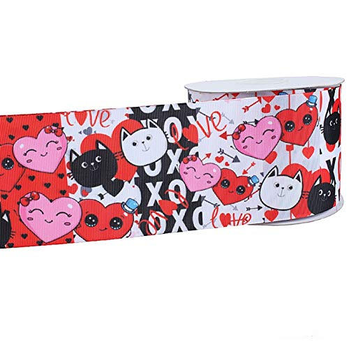 FENCHUN Love Theme Printed Valentine Grosgrain Ribbon For Gift Packing New Year Gift Wrapping Ribbon Decoration (Color : 6, Size : 50MM)