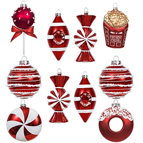 Valery Madelyn 10ct Sweet Candy Glass Christmas Ball Ornaments Bauble Tree Hanging Ornaments Decoration Red and White Themed with Tree Skirt(Not Included)