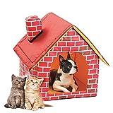 KIOPS Interieur Niche pour Chien Chat, Pliable Nid Petit Animal avec Coussin, Maison...