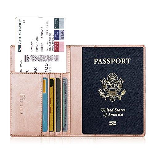 Fintie Reisepass Schutzhülle - Premium Kunstleder Reisepasshülle Halter mit RFID Blockier für Kreditkarten, Ausweis und Reisedokumente, Roségold