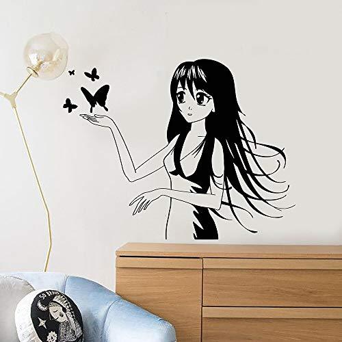 wZUN Anime Mariposa Vinilo calcomanía decoración del hogar niña niños habitación Arte extraíble 57x68cm