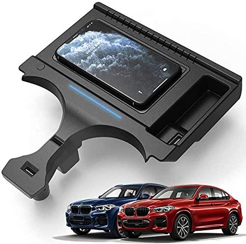 Cargador inalámbrico para coche, para BMW X3/X4 Tablero de carga 2019 2020 Panel de accesorios de consola central, cargador de teléfono de carga rápida de 15 W con puerto USB para iPhone 11/XS/XR/X/8