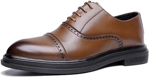 JIALUN-des Chaussures Simple Affaires Oxford Décontracté Fashion Retro Retro Retro Brush Chaussures Pointues Brogue pour Hommes (Couleur   Jaune, Taille   39 EU) b80