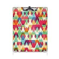 クリップボード インディーズ ミニバインダー 抽象的なカラフルな三角形 用箋挟 クロス貼 A4 短辺とじ幾何学的デザイン 芸術的なディスプレイ