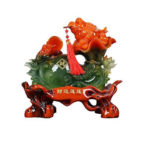 NYKK Estatuas de Feng Shui Lucky Frog Toad Coin Money Lucky Frog Decoración Regalo Feng Shui Dinero Frog Money Sapo Estatua Francia Frog Office Desk Store Apertura Regalo Estatua de Riqueza