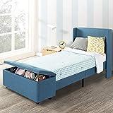 Mellow Platform Bedswith Headboard andBedside Storage-Ottoman Blue, Twin