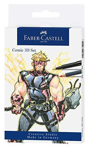 Faber-Castell 267191 - Tuschestift Pitt Artist Pen Comic Illustration 3D Set, 5 Tuschestifte, 3 Aquarellfarbstifte und Zubehör, 11 teilig