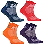 Rainbow Socks - Niño Niña Deporte Calcetines Antideslizantes ABS de Algodón - 4 Pares - Jeans Violeta Naranja Rojo - Talla UE 30-35